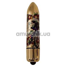 Клиторальный вибратор Rocks-Off Lal Hardy RO-120 mm 10 Speed Pleasure Me Panther, золотой - Фото №1