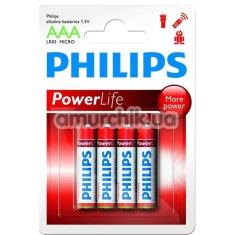 Батарейки Philips PowerLife ААА, 4 шт - Фото №1