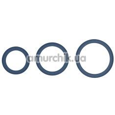 Набор эрекционных колец Hombre Snug Fit Silicone Thin C-Rings, синий - Фото №1