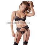 Комплект Cottelli Collection Lingerie 221258 черный: бюстгальтер + трусики-стринги + пояс для чулок - Фото №1