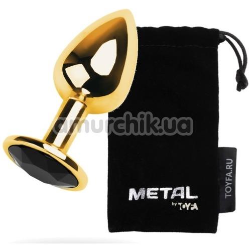 Анальная пробка с черным кристаллом Toyfa Metal 717004-5, золотая