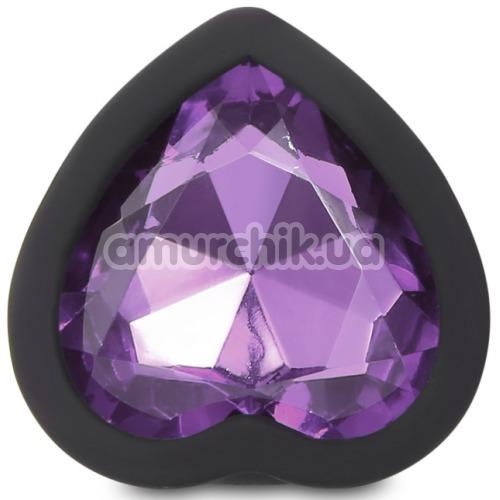 Анальная пробка с сиреневым кристаллом Silicone Jewelled Butt Plug Heart Small, черная