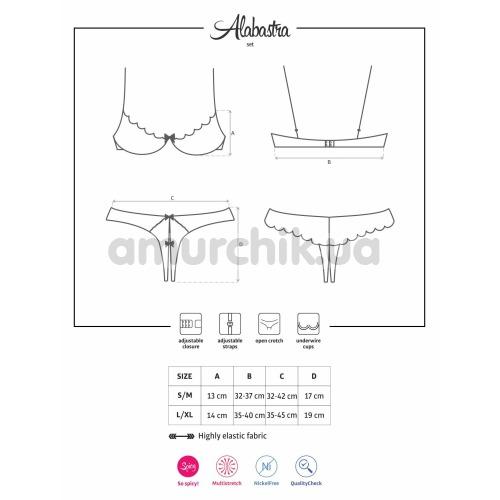 Комплект Obsessive Alabastra белый: бюстгальтер + трусики-стринги