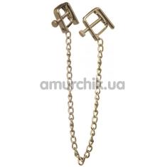 Зажимы для сосков квадратные с тонкой цепочкой Lucky Bay Nipple Play, золотые - Фото №1