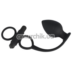 Виброкольцо с анальной пробкой Black Velvets Vibrating Rings and Plug, черное - Фото №1