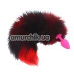 Анальная пробка с черно-красным длинным хвостом sLash, розовая