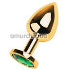 Анальная пробка с зеленым кристаллом Toyfa Metal 717005-7, золотая - Фото №1