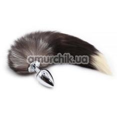 Анальная пробка с хвостом енота Loveshop Raccoon Tail M, серебряная - Фото №1