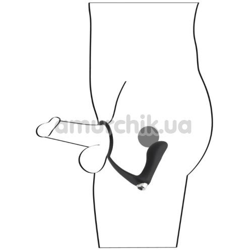 Вибростимулятор простаты с эрекционным кольцом Black Velvets Vibrating Ring & Plug, черный
