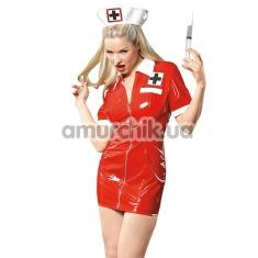 Костюм медсестры Black Level Lack-Krankenschwester-Set, красный: платье + шапочка