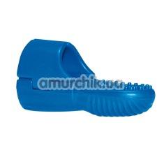Вибронапалечник для стимуляции клитора Finger Clip, синий - Фото №1