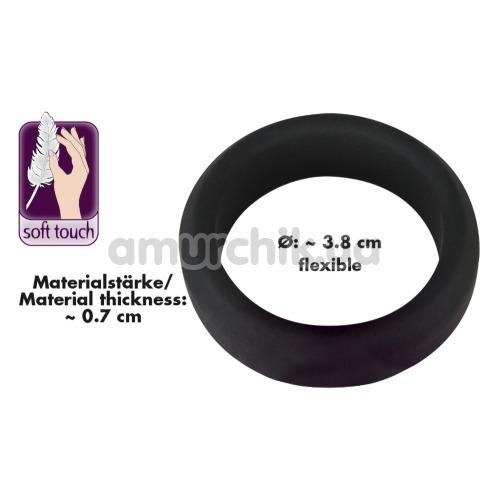 Эрекционное кольцо Black Velvets Cock Ring 3.8 см, чёрное