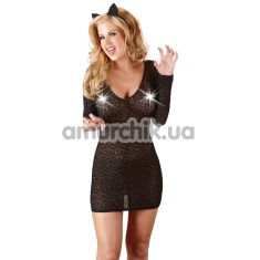 Костюм кошки Cottelli Collection 2470446 чёрный: платье + кошачьи ушки - Фото №1