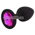 Анальная пробка с розовым кристаллом SWAROVSKI Zcz М, черная - Фото №1