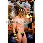 Костюм пожарного JSY Fireman жёлто-чёрный: трусы + каска + напульсники + воротник - Фото №1