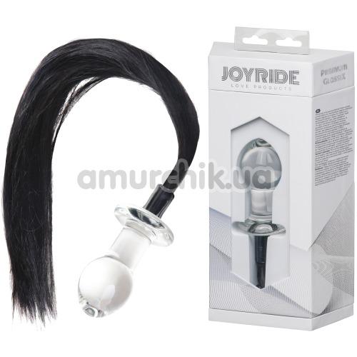 Анальная пробка с хвостом Joyride Premium GlassiX 16, прозрачная