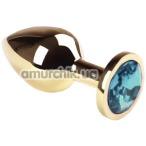 Анальная пробка с голубым кристаллом SWAROVSKI Gold Blue Middle, золотая - Фото №1