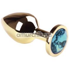 Анальная пробка с голубым кристаллом SWAROVSKI Gold Blue Middle, золотая