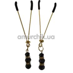 Зажимы для сосков Nipple Clamp с черными камушками, золотые - Фото №1