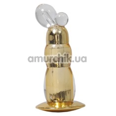 Анальная пробка с вибрацией Alien Elastomer Vibrator с шариками, золотая - Фото №1