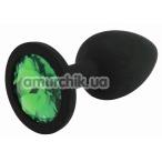 Анальная пробка с зеленым кристаллом SWAROVSKI Zcz М, черная - Фото №1