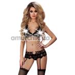 Комплект Livia Corsetti Fashion Belita чёрный: бюстгальтер + трусики-стринги + пояс для чулок  - Фото №1