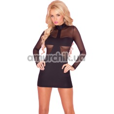 Платье Mesh Body-Con Mini Dress, черное - Фото №1