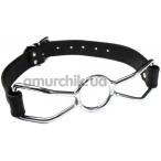 Кляп-кольцо DS Fetish Leather, черный - Фото №1