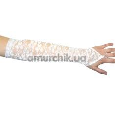 Перчатки Гипюр длинные, белые - Фото №1