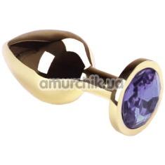 Анальная пробка с сиреневым кристаллом SWAROVSKI Gold Lilac Middle, золотая