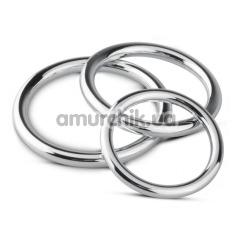 Набор эрекционных колец Unbendable Cock Ball Ring & Glans Ring Set, серебряный - Фото №1