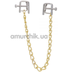 Зажимы для сосков квадратные с цепочкой Lucky Bay Nipple Play Gold Chain, золотые - Фото №1