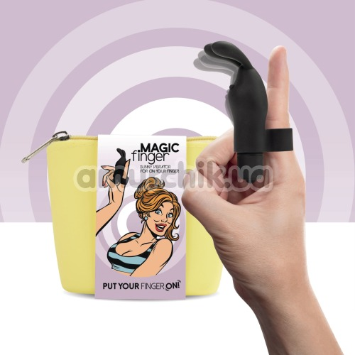 Вибронапалечник FeelzToys Magic Finger Bunny Vibrator, черный