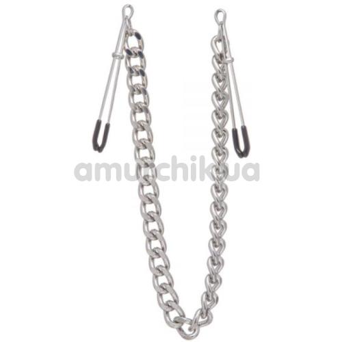 Зажимы для сосков с широкой цепочкой Lucky Bay Nipple Play Chain Heavy Metall, серебряные - Фото №1
