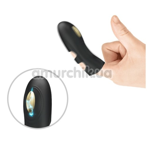 Вибронасадка на палец с электростимуляцией Pretty Love Pegasus, черная