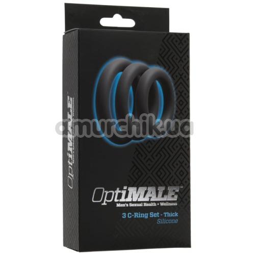 Набор эрекционных колец OptiMALE 3 C-Ring Set Thick, черный