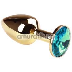 Анальная пробка с голубым кристаллом SWAROVSKI Gold Sky Blue Small, золотая