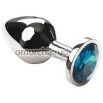 Анальная пробка с голубым кристаллом SWAROVSKI Silver Light Blue Middle, серебряная - Фото №1