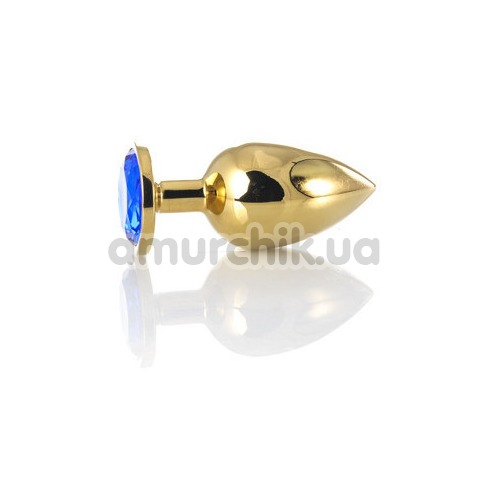 Анальная пробка с синим кристаллом Toyfa Metal 717006-6, золотая