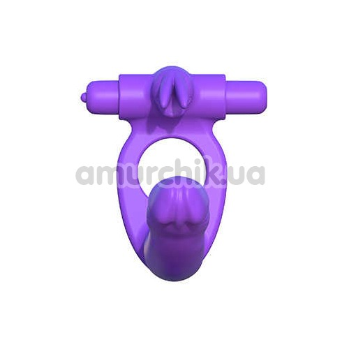 Виброкольцо с анальным стимулятором Fantasy C-Ringz Silicone Double Penetrator Rabbit, фиолетовое